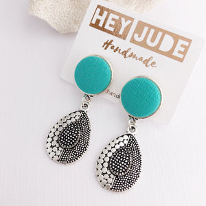 Vintage Inspired Earrings-Antique Silver Drops-Sea Foam Green-Hey Jude Handmade