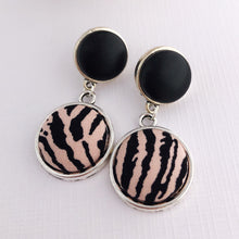 Load image into Gallery viewer, Antique Silver Double Drop Earrings, Statement Earrings, Black Leatherette + Pink Zebra Print-Hey Jude Handmade