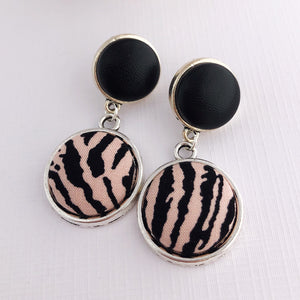 Antique Silver Double Drop Earrings, Statement Earrings, Black Leatherette + Pink Zebra Print-Hey Jude Handmade