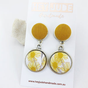 Antique Silver Statement Earrings-Double Drops-Mustard Yellow linen upper and Golden Wattle bottom-Hey Jude Handmade