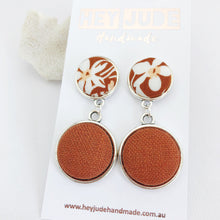Load image into Gallery viewer, Antique Silver Double Drop-Statement Earrings-Toffee floral upper and Rust Linen bottom-Hey Jude Handmade