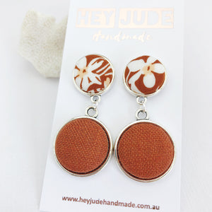 Antique Silver Double Drop-Statement Earrings-Toffee floral upper and Rust Linen bottom-Hey Jude Handmade