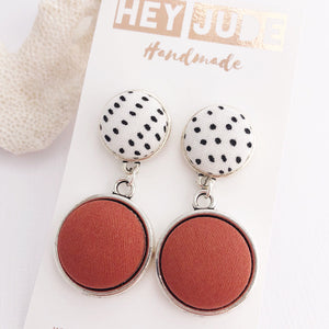 Antique Silver Earrings-Double Drops-White Black Dots and Cinnamon-Hey Jude Handmade