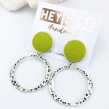 Load image into Gallery viewer, Antique Silver Hoop Earrings-Hammered Silver Hoops-with Chartreuse line pop of colour-Hey Jude Handmade