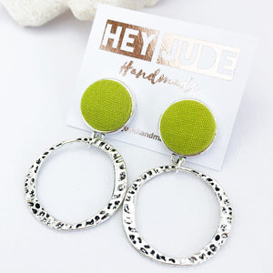 Antique Silver Hoop Earrings-Hammered Silver Hoops-with Chartreuse line pop of colour-Hey Jude Handmade