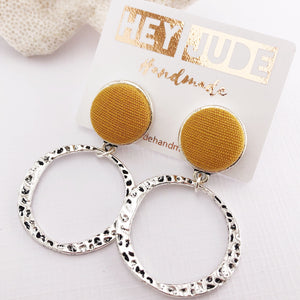 Silver Hoop Earrings-Mustard Yellow Linen-Antique Silver-Stud Dangles-Hey Jude Handmade