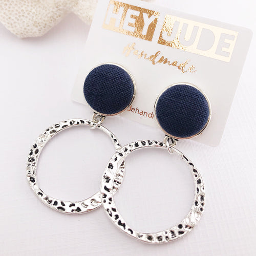Silver Hoop Earrings-Navy Linen-Stud Dangles-Antique Silver-Hey Jude Handmade