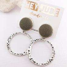 Load image into Gallery viewer, Silver Hoop Earrings-Antique Silver-Sage Linen-Stud Dangles-Hey Jude Handmade