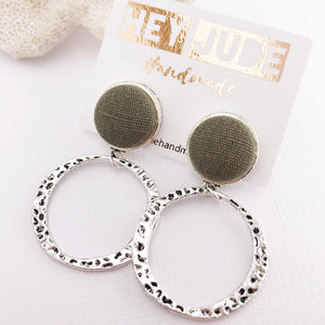 Silver Hoop Earrings-Antique Silver-Sage Linen-Stud Dangles-Hey Jude Handmade