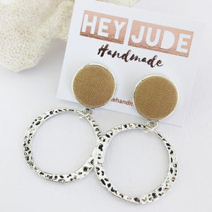 Silver Hoop Earrings-Antique Silver Stud Dangles-Sand Linen-Fabric Feature-Irregular Hammered Hoops-Hey Jude Handmade