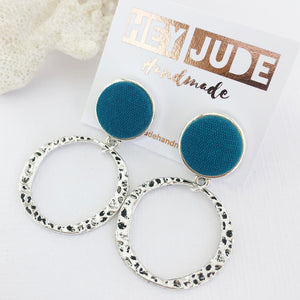 Silver Hoop Earrings-Antique Silver Stud Dangles-Teal Linen-Fabric Feature-Irregular Hammed Hoops-Hey Jude Handmade