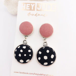 Antique Silver Statement Earrings-DoubleDrops-Dusky Rose Linen and Black, white spots-Hey Jude Handmade