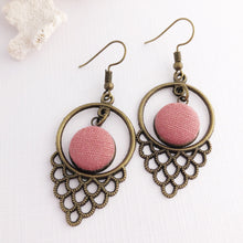Load image into Gallery viewer, Bronze Dangle Earrings Dusky Rose Pink Linen