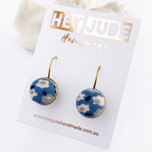 Load image into Gallery viewer, Small Bronze drop earrings-bezel setting with fabric button feature-Light Blue Floral-Hey Jude Handmade
