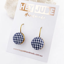 Load image into Gallery viewer, Small Bronze Drop Earrings-Bezel edge with fabric button feature-Navy Houndstooth pattern-Hey Jude Handmade