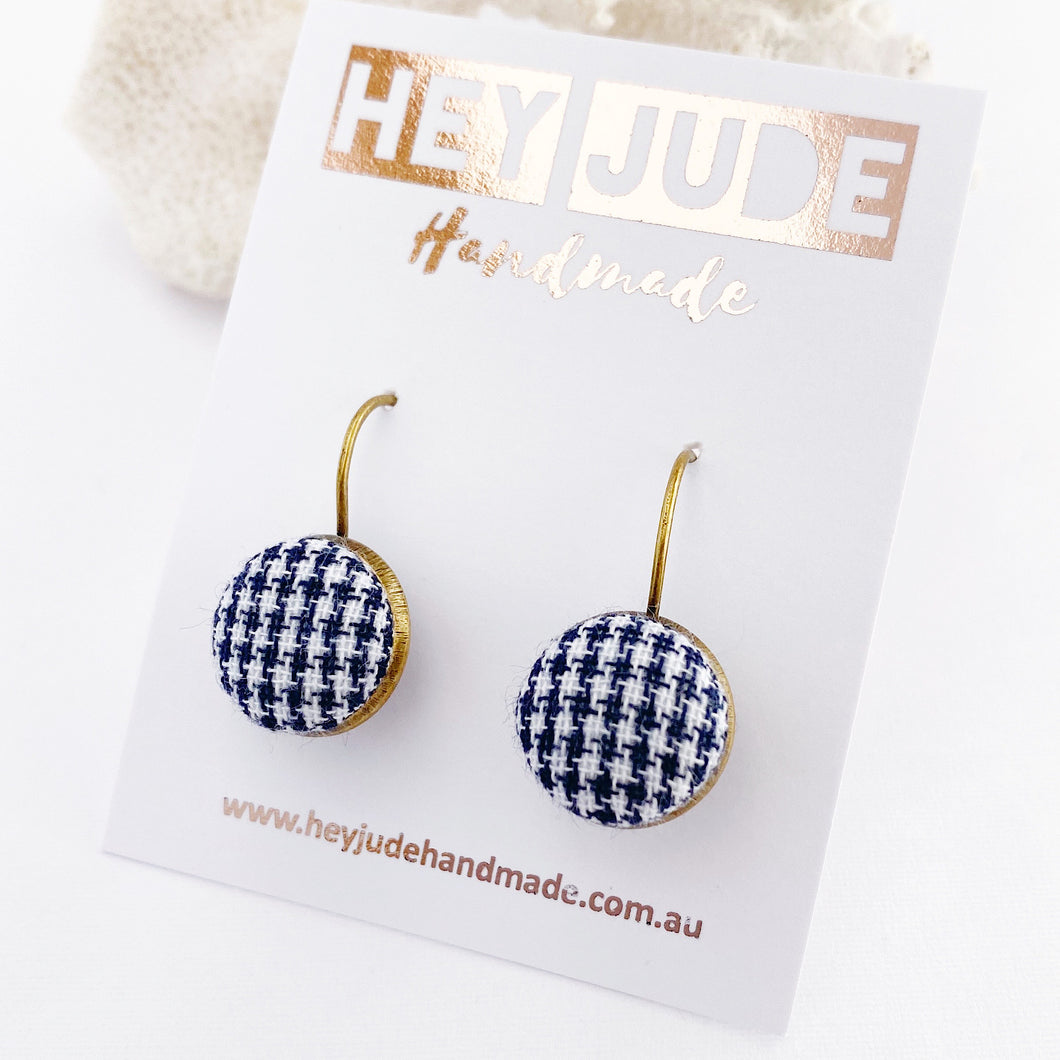 Small Bronze Drop Earrings-Bezel edge with fabric button feature-Navy Houndstooth pattern-Hey Jude Handmade