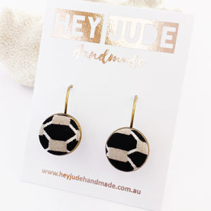 Small Drop Earrings-Bronze Bezel Edged-with fabric covered button feature-Black and Taupe Geometric pattern-Hey Jude Handmade