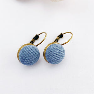 Small Bronze Bezel Drop Earrings-Duck Egg Blue Linen button feature-Hey Jude Handmade