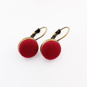 Small Bronze Bezel edge Drop Earrings-Maroon fabric covered button feature-Hey Jude Handmade