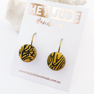 Small Bronze Bezel edge Drop Earrings-with lever arch closing back-Mustard Gold with Black line Abstract fabric button feature-Hey Jude Handmade