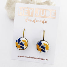 Load image into Gallery viewer, Bronze Bezel Drop Earrings-Mustard Navy on White fabric-Hey Jude Handmade