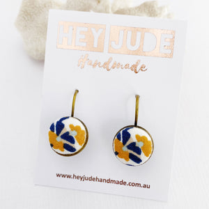 Bronze Bezel Drop Earrings-Mustard Navy on White fabric-Hey Jude Handmade