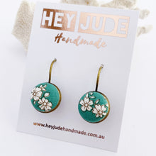 Load image into Gallery viewer, Bronze Bezel Drop Earrings-Subtle Green Vintage Floral-Hey Jude Handmade