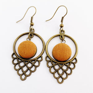 Bronze Earrings-Window Dangles-with Saffron coloured Linen button middle feature-Hey Jude Handmade