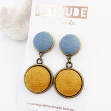 Load image into Gallery viewer, Bronze Double Drops-two piece statement earrings-feature fabric covered buttons-Duck Egg Blue Linen upper + Tikka Linen larger lower drop-Hey Jude Handmade