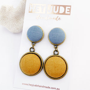 Bronze Double Drops-two piece statement earrings-feature fabric covered buttons-Duck Egg Blue Linen upper + Tikka Linen larger lower drop-Hey Jude Handmade