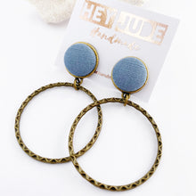 Load image into Gallery viewer, Bronze Hoop Earrings-Stud Dangle with fabric button feature-Duck Egg Blue Linen-Hey Jude Handmade