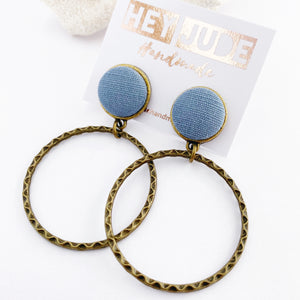 Bronze Hoop Earrings-Stud Dangle with fabric button feature-Duck Egg Blue Linen-Hey Jude Handmade