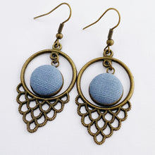 Load image into Gallery viewer, Bronze Window Shaped Filigree Dangle Earrings-with fabric button feature framed in window-Duck Egg Blue Linen-Hey Jude Handmade