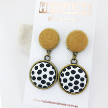 Load image into Gallery viewer, Antique Bronze Double Drop-Statement Earrings-Tikka Linen upper and White black dots bottom-Hey Jude Handmade