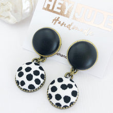 Load image into Gallery viewer, Bronze Earrings-Small Double Drops-Black Leatherette and White Black spots-tree of life reverse-Hey Jude Handmade