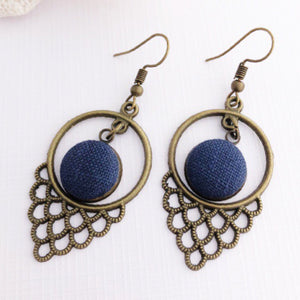 Bronze Dangle Earrings-Window Features-with Navy Linen-Hey Jude Handmade