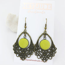 Load image into Gallery viewer, Bronze Filigree Chandelier Earrings-Pop of Chartreuse colour linen-Hey Jude Handmade
