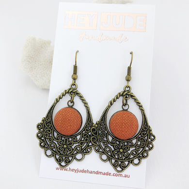 Bronze Filigree Chandelier Earrings-Pop of Rust linen-Hey Jude Handmade