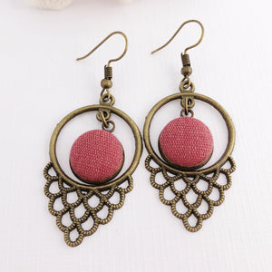 Bronze Boho Dangle Earrings-Window Dangles-Raspberry Pink Linen-Hey Jude Handmade