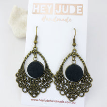 Load image into Gallery viewer, Bronze Filigree Chandelier Dangle Earrings-with Ash Black linen-Hey Jude Handmade
