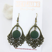 Load image into Gallery viewer, Bronze Filigree Chandelier Dangle Earrings-with Forrest Green-Hey Jude Handmade