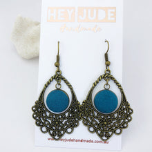 Load image into Gallery viewer, Bronze Filigree Chandelier Dangle Earrings-with Teal linen-Hey Jude Handmade