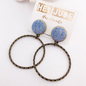 Hoop Earrings-Bronze Hoops-with Light Blue woven fabric-Hey Jude Handmade