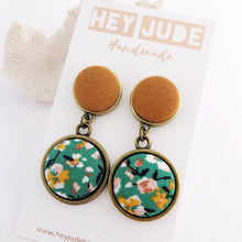 Load image into Gallery viewer, Bronze Statement Earrings-Antique Bronze and Fabric-Double Drops-Saffron Linen and Green Summer Floral-Hey Jude Handmade