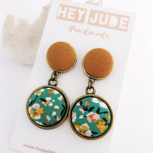 Bronze Statement Earrings-Antique Bronze and Fabric-Double Drops-Saffron Linen and Green Summer Floral-Hey Jude Handmade