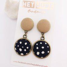 Load image into Gallery viewer, Antique Bronze Statement Earrings-DoubleDrops-Sand Linen+Black, White Spots-Hey Jude Handmade