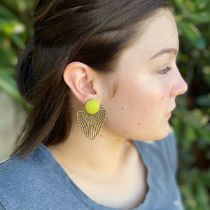 Chartreuse linen-Large Stud-Bronze Boho Fan Dangle Earrings-on model-Hey Jude Handmade