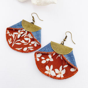 Dangle Statement Earrings-Pleated Denim Dangles-Toffee White Floral fabric-Light denim reverse-Hey Jude Handmade