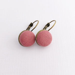 Small Bronze Bezel Drop Earring with Dusky Rose Pink linen