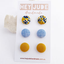 Load image into Gallery viewer, Fabric Stud Earring-Multipack 3 pack-Mustard Floral,Light Blue,Mustard Yellow Linen-Hey Jude Handmade